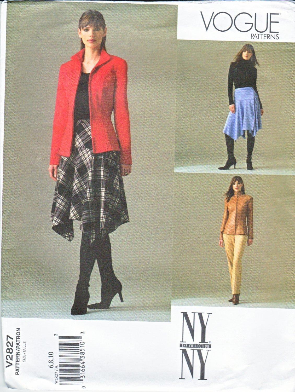 Vogue Sewing Pattern 2827 Misses Size 6-8-10 NY NY Jacket Wrap Skirt Pants