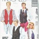 "McCalls Sewing Pattern 4437 M4437 Misses Mens Chest Size 36-38"" Unisex Button Front Lined Vest"