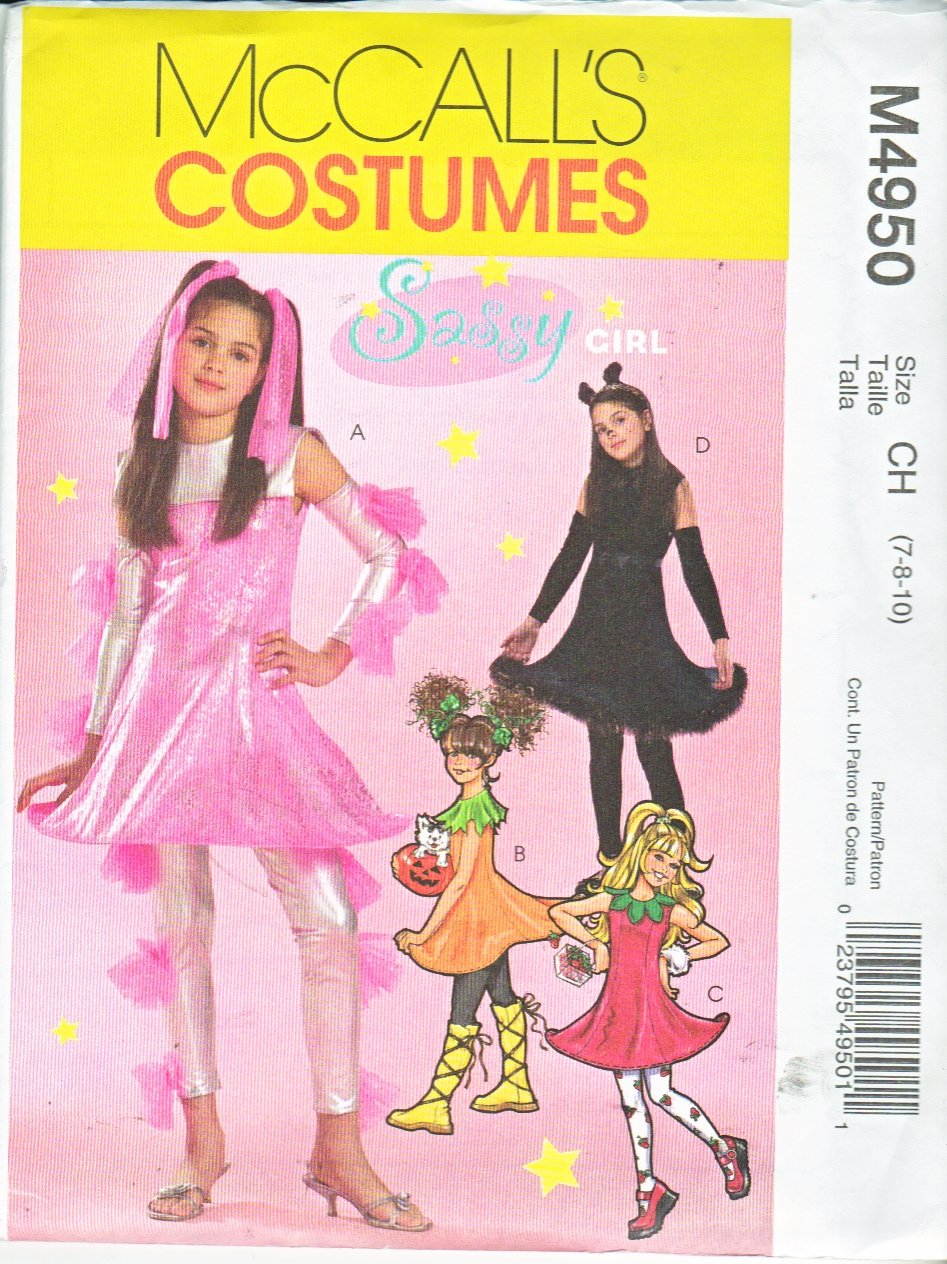 McCall's Sewing Pattern 4950 M4950 Girls Size 12-16 Costumes Cat Pumpkin Strawberry Sci-Fi
