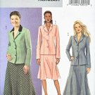Butterick Sewing Pattern 4616 Misses Size 8-10-12-14 Easy Unlined Jacket Flared Short Long Skirt