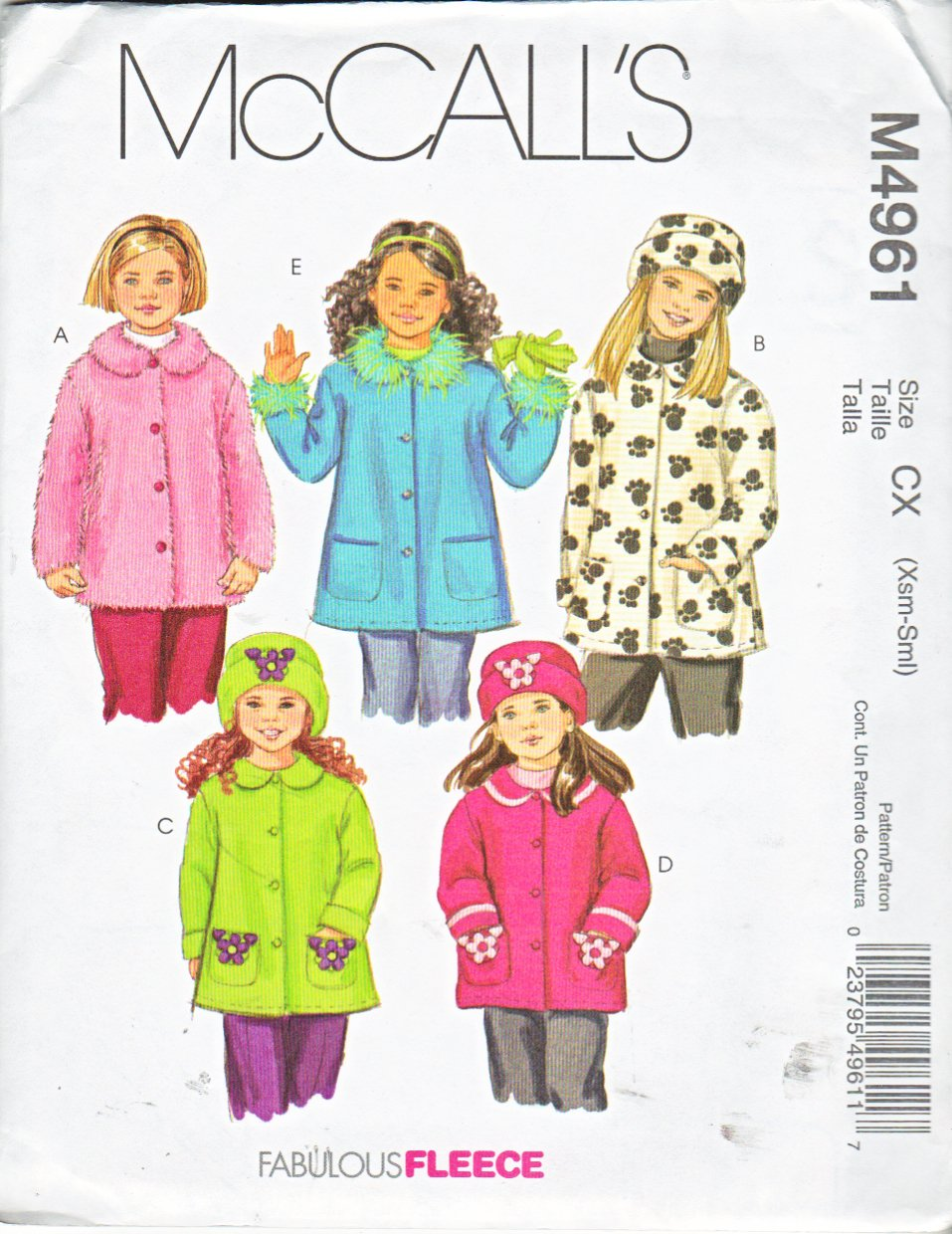 McCall's Sewing Pattern M4961 4961 Girls Size 3-6 Button Front Long Sleeved Unlined Jacket Coat Hat