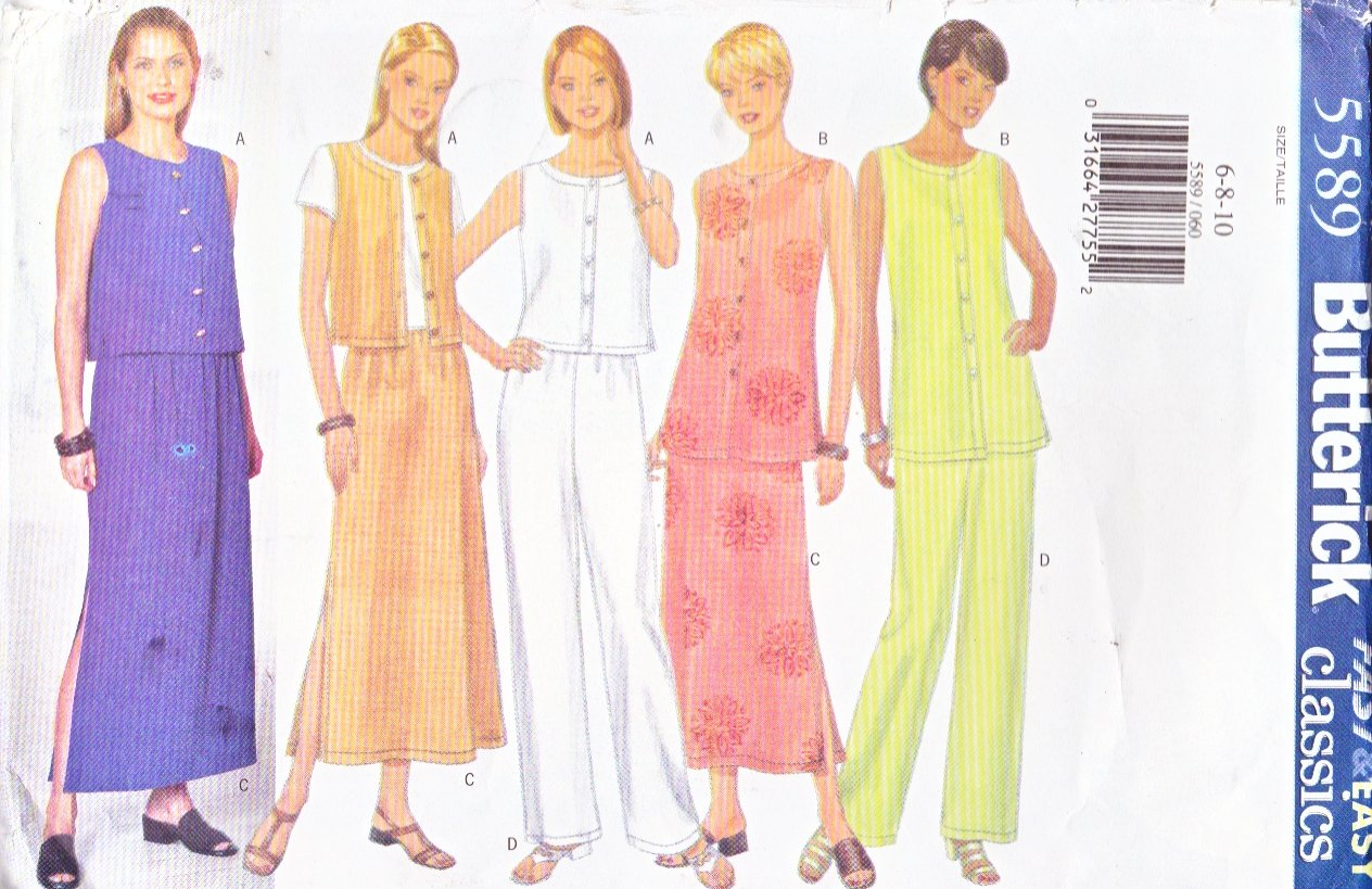 Butterick Sewing Pattern 5589 B5589 Misses Size 6-10 Easy Classic Button Front Top Vest Skirt Pants