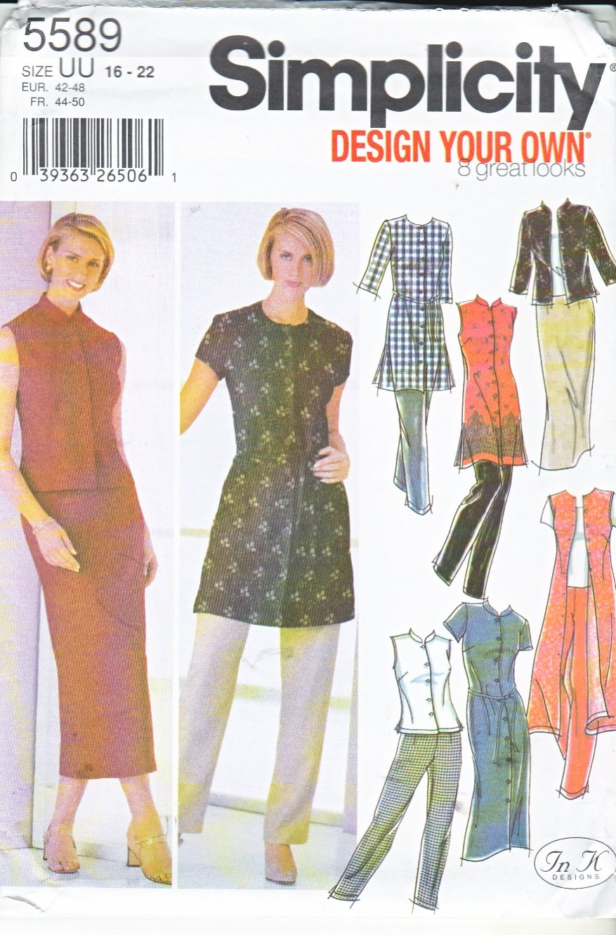 Simplicity Sewing Pattern 5589 Misses Size 16-22 Wardrobe Button Front Dress Tunic Top Pants Skirt