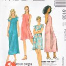 McCall's Sewing Pattern 8108 Misses Size 18-20-22 1-Hour Pullover Sleeveless Short Sleeve Dress