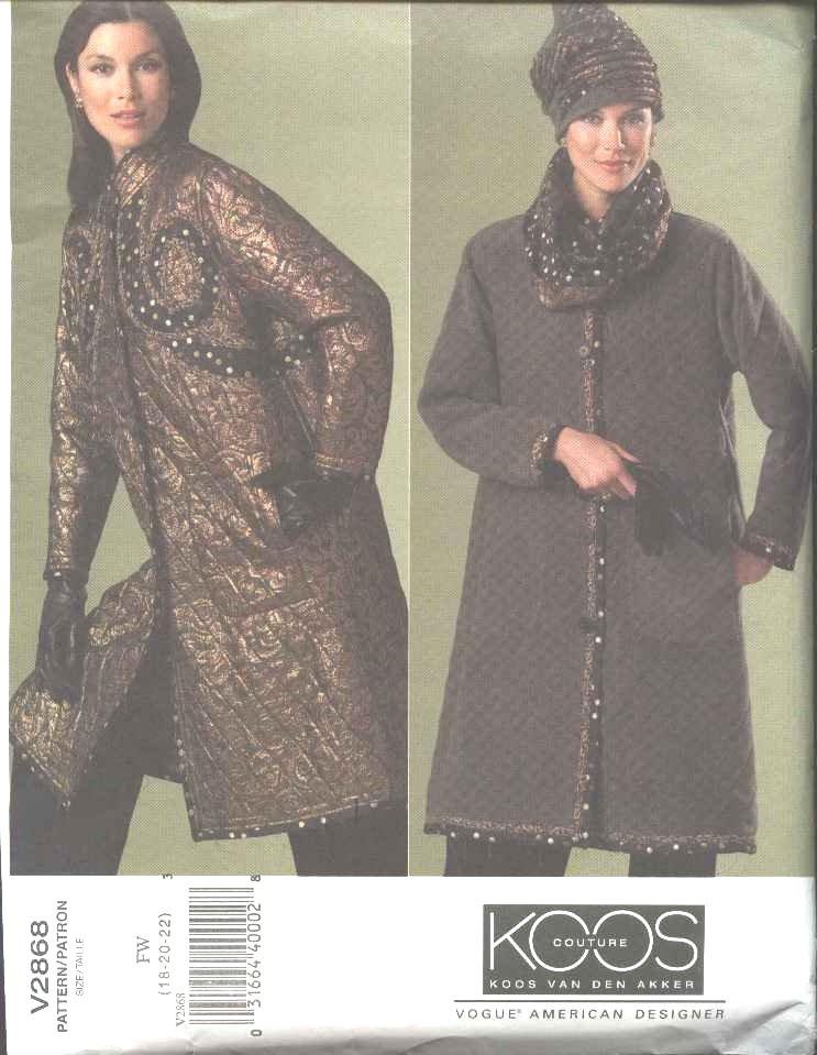 Vogue Sewing Pattern 2868 Misses Size 12-16 Koos Van Den Akker Couture Reversible Quilted Coat Hat