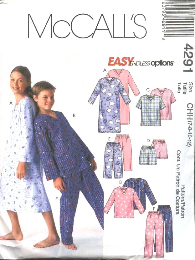 McCall's Sewing Pattern 4291 Boys Girls Size 12-16 Easy Pajamas Nightgown Pants Shorts Pullover Tops