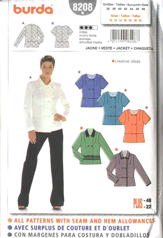 Burda Sewing Pattern 8208 Misses Size 10-22 Double Breasted Jackets