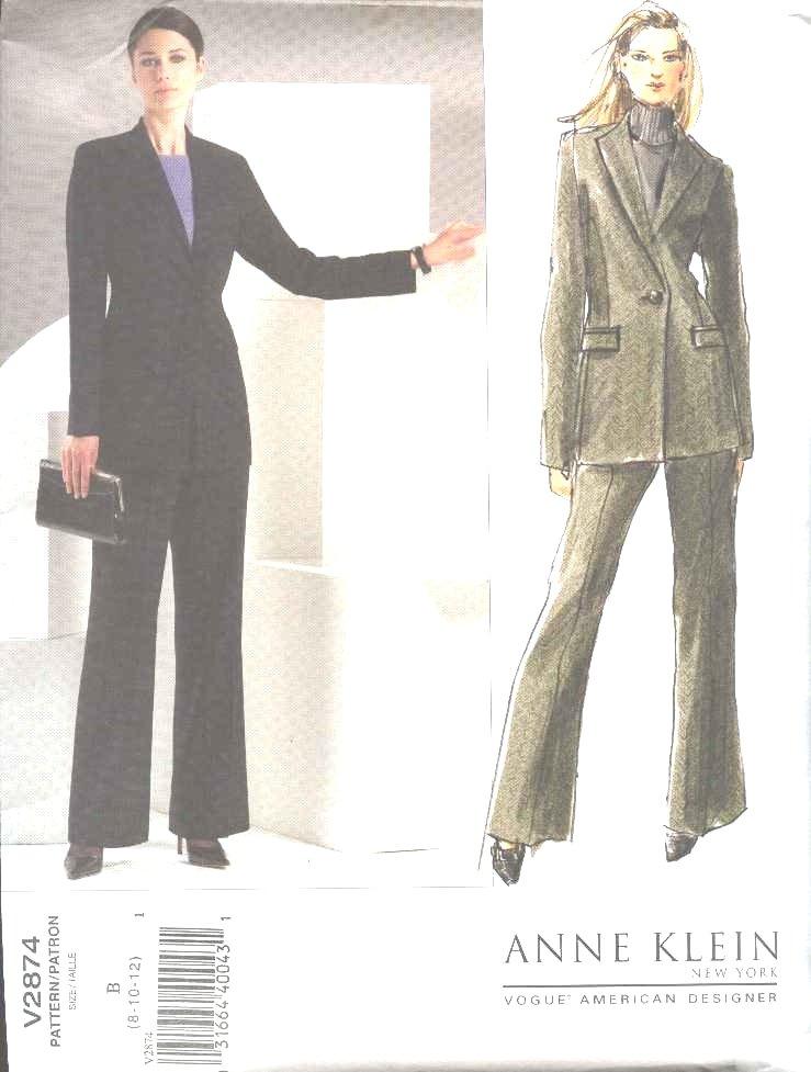 Vogue Sewing Pattern 2874 Misses Size 8-10-12 Anne Klein Jacket Pants Pantsuit