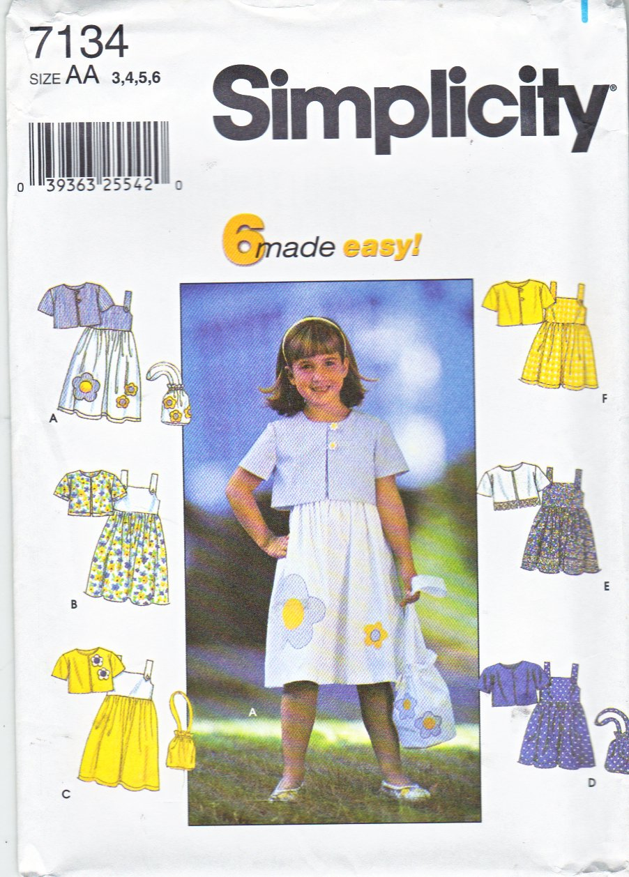 Simplicity Sewing Pattern 7134 8544 Girls Size 3-6 Easy Sundress Summer Dress Short Jacket Purse