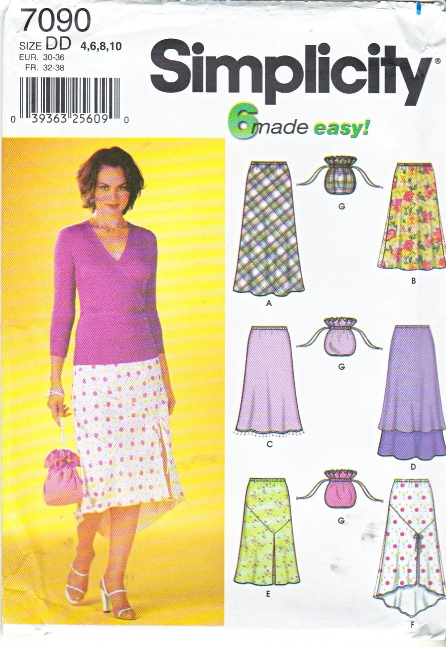Simplicity Sewing Pattern 7090 Misses Size 4-10 Easy Pull On Bias A-Line Skirts  Purse Bag