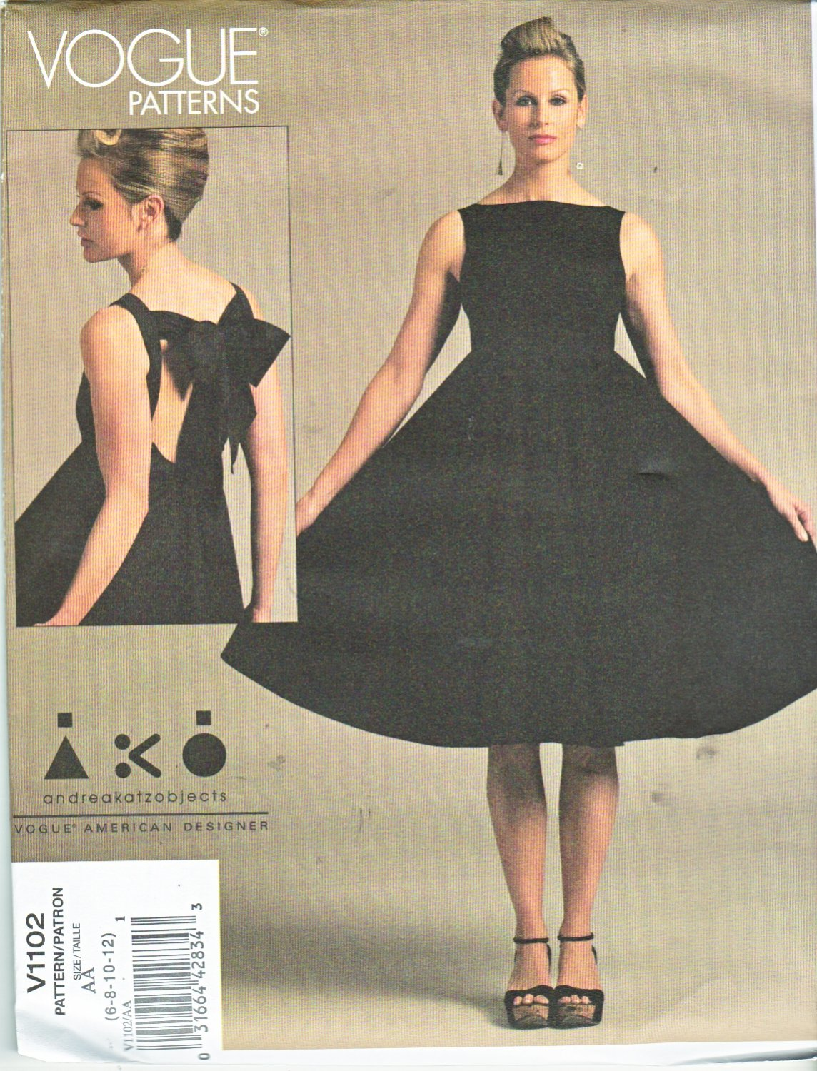 Vogue Sewing Pattern 1102 Misses Size 14-20 Easy Andrea Katz Objects Easy Sleeveless Dress