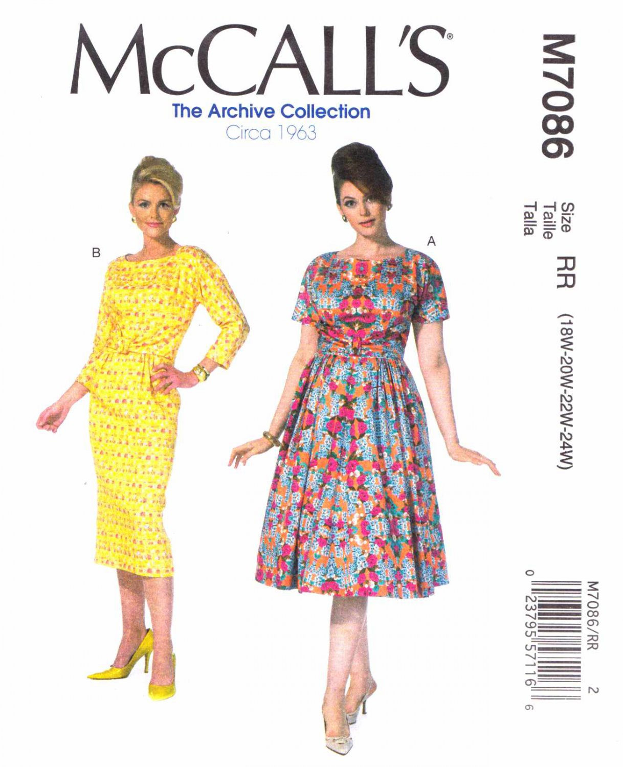 McCall's Sewing Pattern 7086 Women's Plus Size 18W-24W Vintage Style Straight Full Skirt Dresses