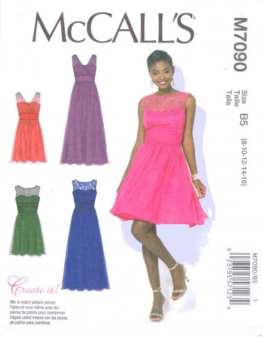 McCall's Sewing Pattern 7090 M7090 Misses Size 8-16 Create It! Lined Long Short Formal Dress Gown