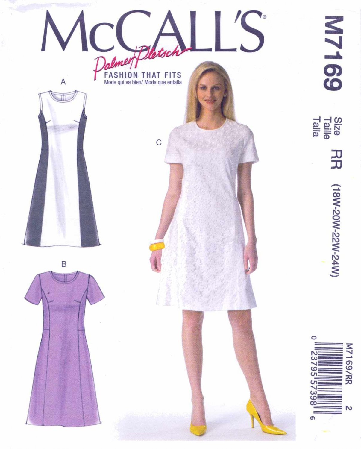 McCall's Sewing Pattern 7169 Women's Size 18W-24W Palmer/Pletsch Classic A-Line Dress Sleeve Options