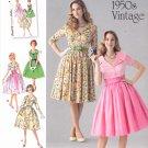 Simplicity Sewing Pattern 1459 Misses Sizes 8-16 Vintage Style Button Front Bodice Dress Cummerbund