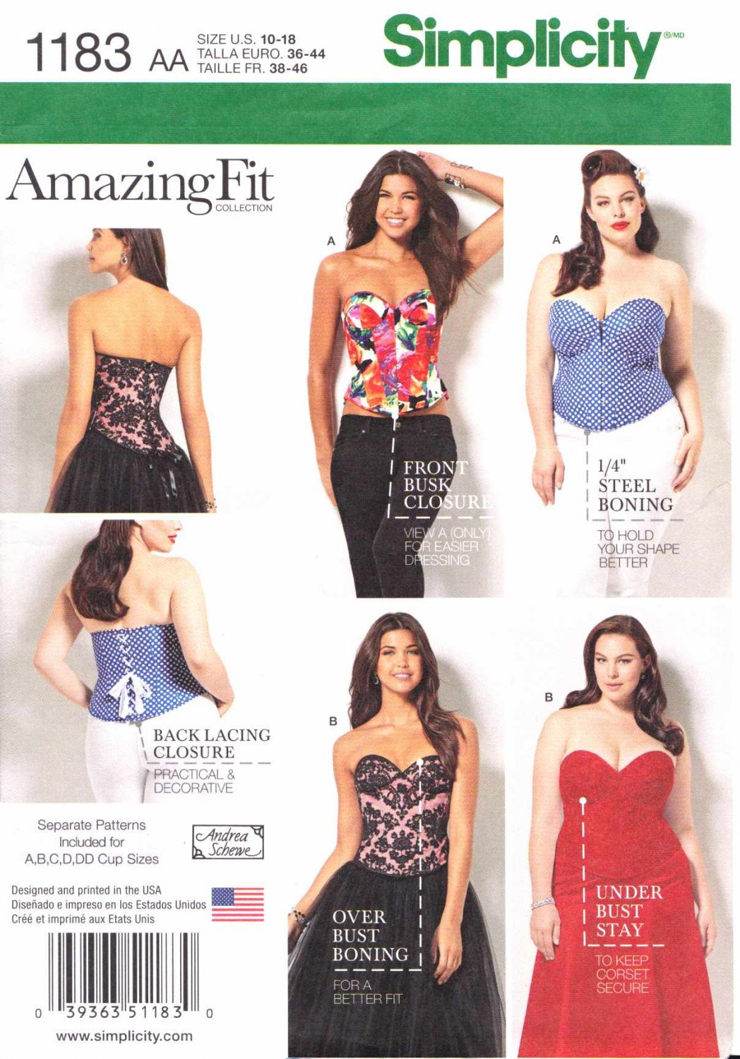 Simplicity Sewing Pattern 1183 Women's Plus Sizes 20W-28W Amazing Fit Corset A-DD Bust Cups