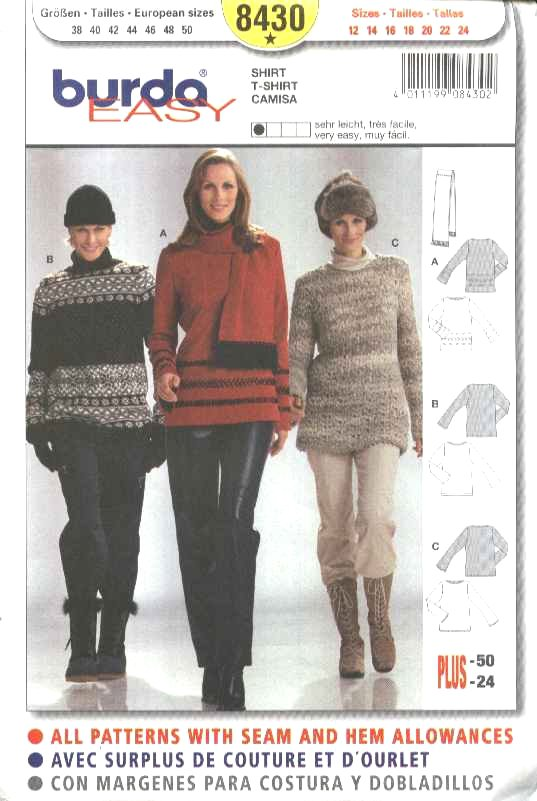 Burda Sewing Pattern 8430 Misses Sizes 12-24 Easy Knit Pullover Sweater Tops Tunics Scarf