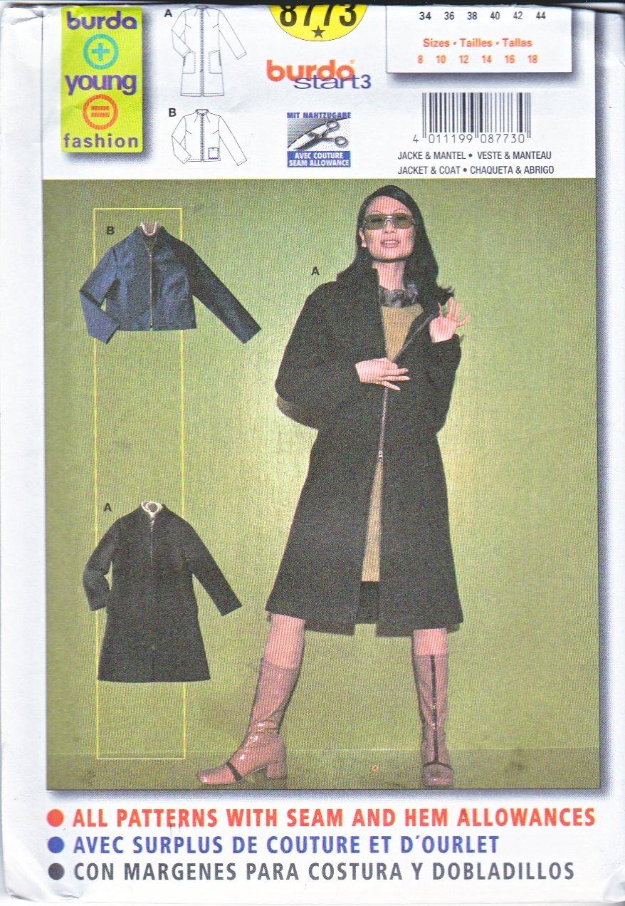 Burda Sewing Pattern 8773 Misses Sizes 8-18 Easy Zipper Front Jacket Coat