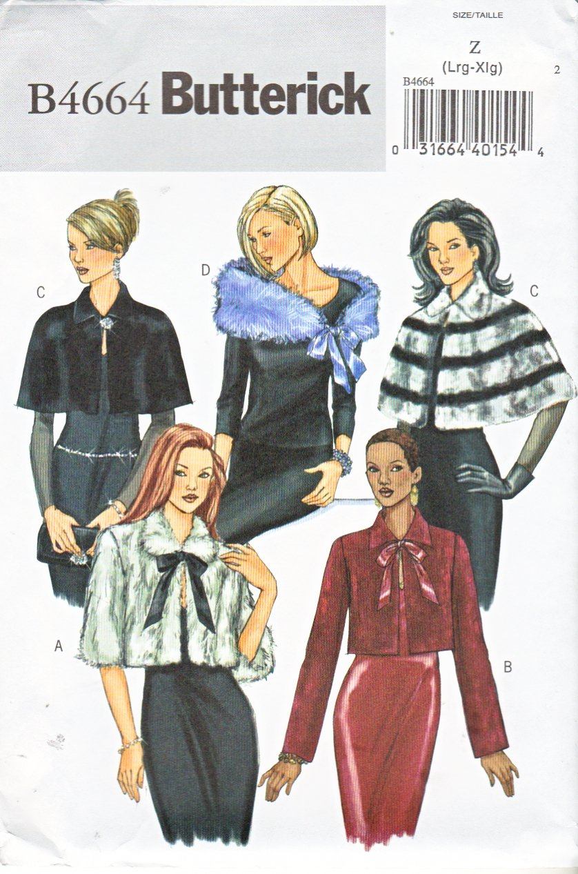 Butterick Sewing Pattern 4664 Misses Size 16-22 Easy Formal Tie Front Capelet Wrap Jacket