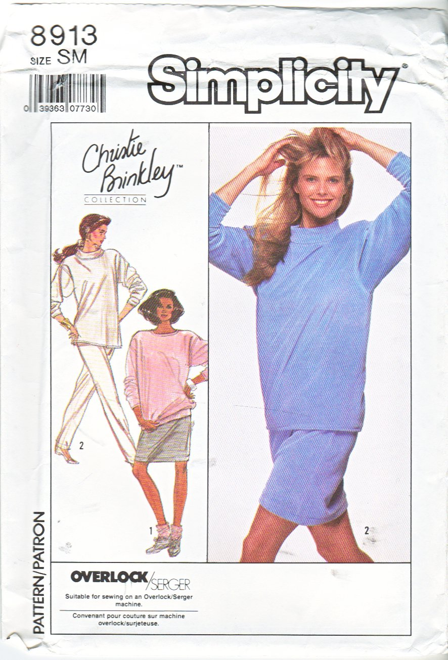 Simplicity Sewing Pattern 8913 Misses Size 10-12 Christie Brinkley Knit Tops Pants Skirt
