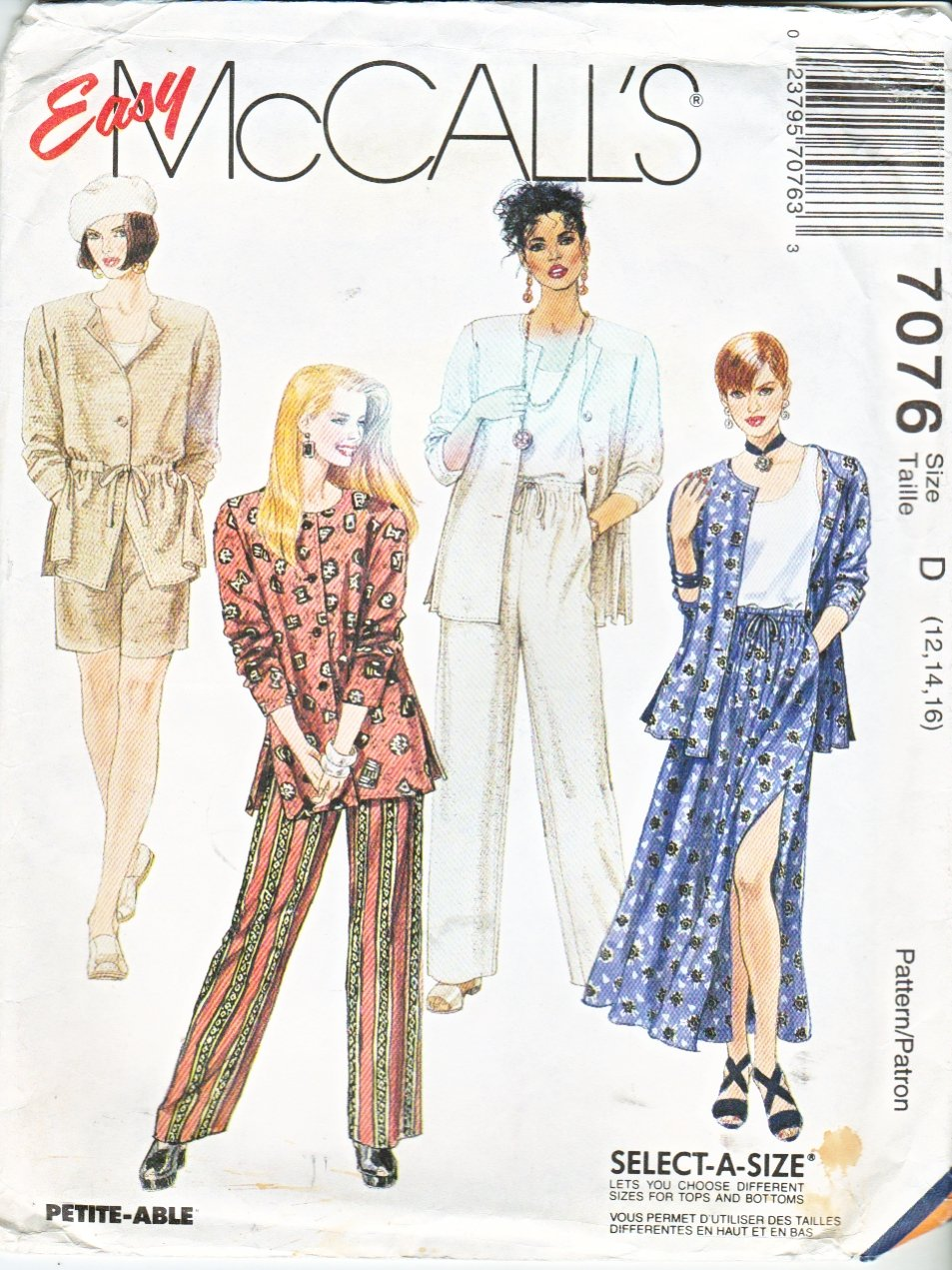 McCall�s Sewing Pattern 7076 Misses Size 12-16 Easy Wardrobe Pants Skirt Jacket Shorts Tank Top