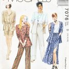 McCall's Sewing Pattern 7076 Misses Size 12-16 Easy Wardrobe Pants Skirt Jacket Shorts Tank Top