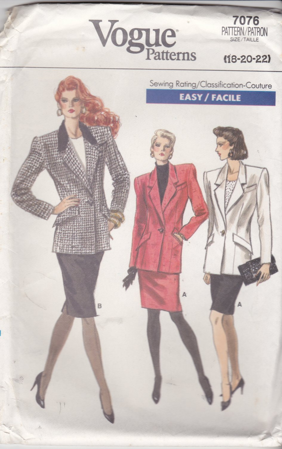 Retro Vogue Sewing Pattern 7076 Misses Size 18-22 Easy Lined Jacket Straight Skirt Suit