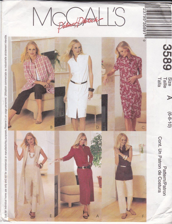 McCall's Sewing Pattern 3589 Misses Size 6-10 Wardrobe Duster Dress Capri Pants Shirts