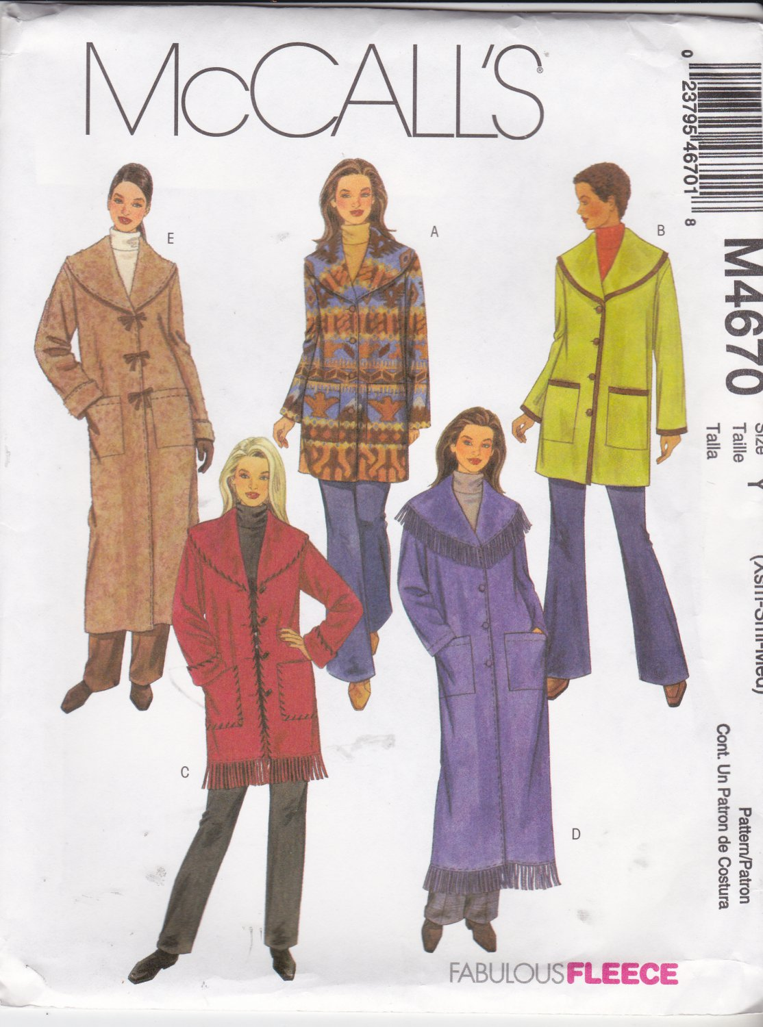 McCall's Sewing Pattern 4670 Misses Size 16-22 Fleece Wool Unlined Button Front Jackets Coats