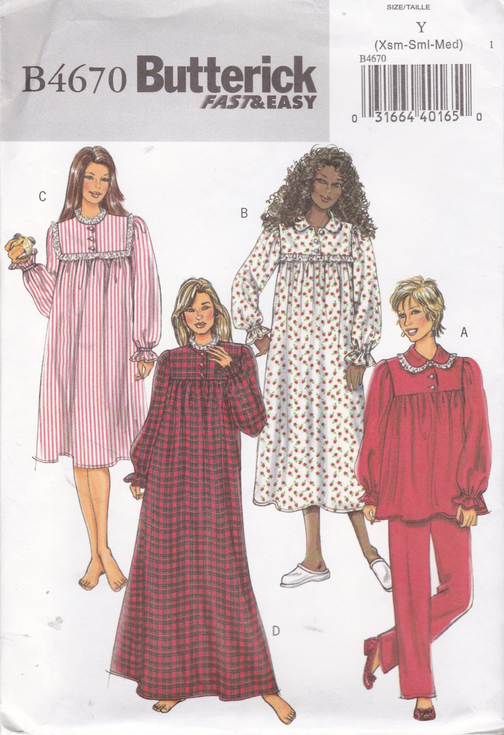 Butterick Sewing Pattern 4670 Misses Size 4-14 Easy Nightgown Pajama Pants Top