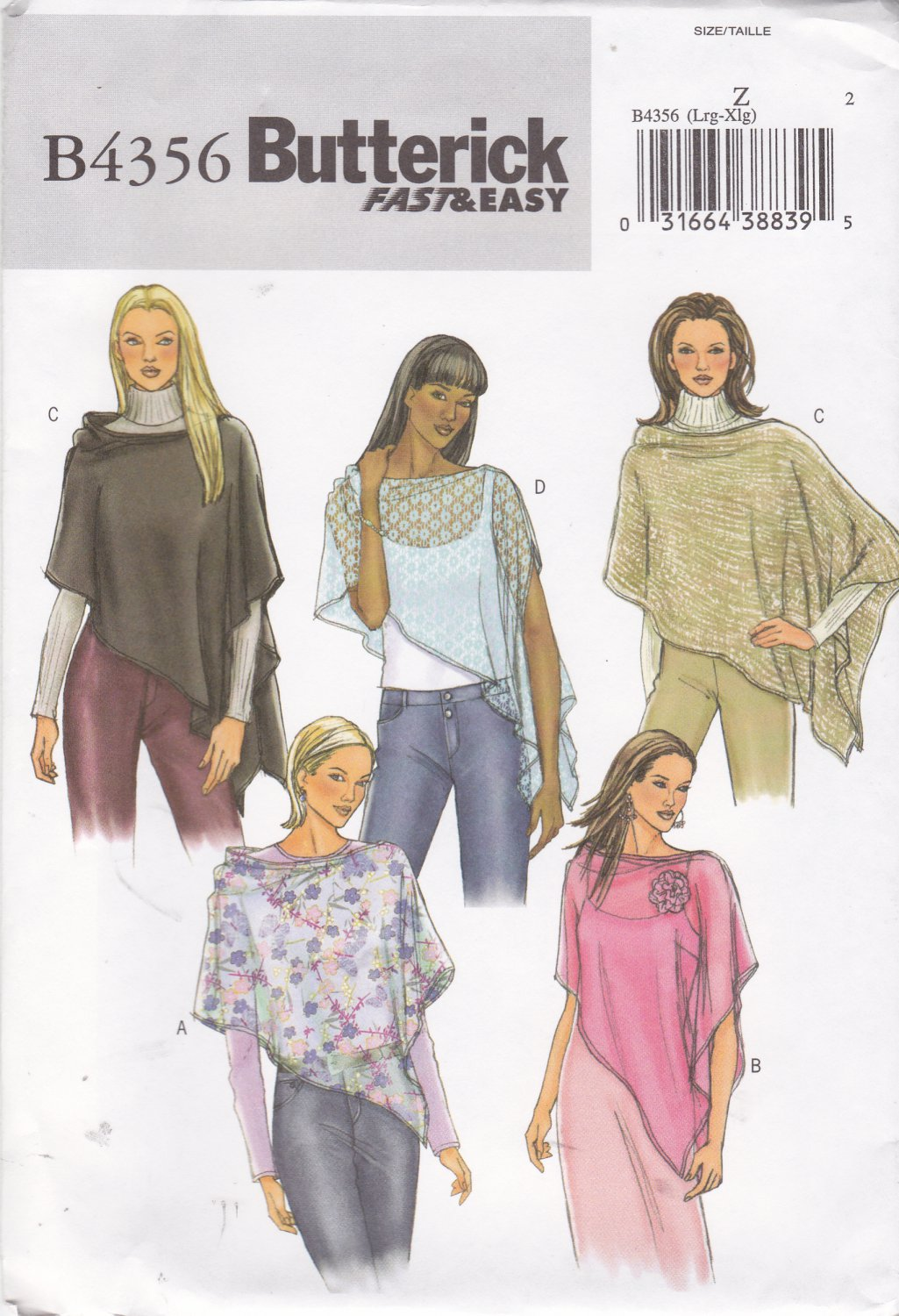 Butterick Sewing Pattern 4356 Misses Size 8-10-12-14 Easy Lightweight Poncho Wrap Flower