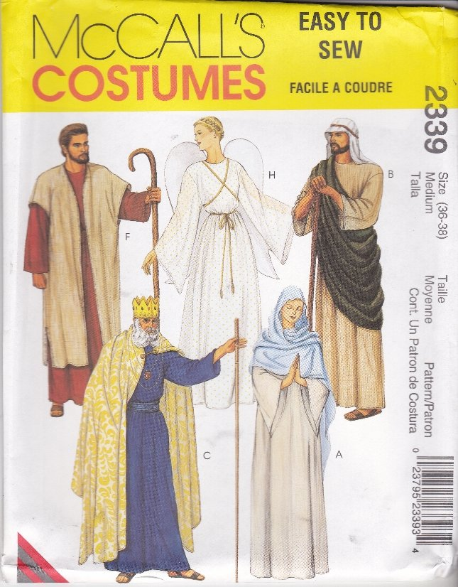 """McCall�s Sewing Pattern 2339 Misses Mens Chest 32 1/2 - 34"""" Nativity Angel King Mary Costumes"""