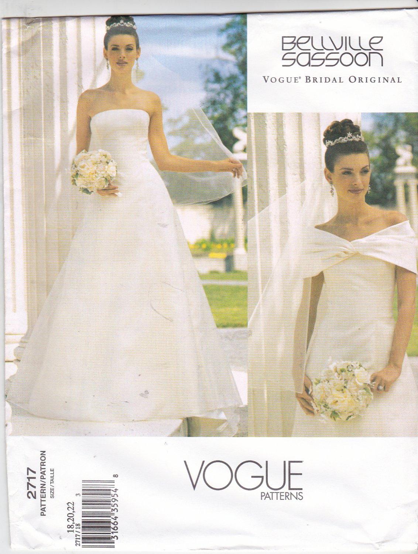 Vogue Sewing Pattern 2717 Misses size 18-20-22 Wedding Dress Bridal Gown Formal Belleville Sassoon