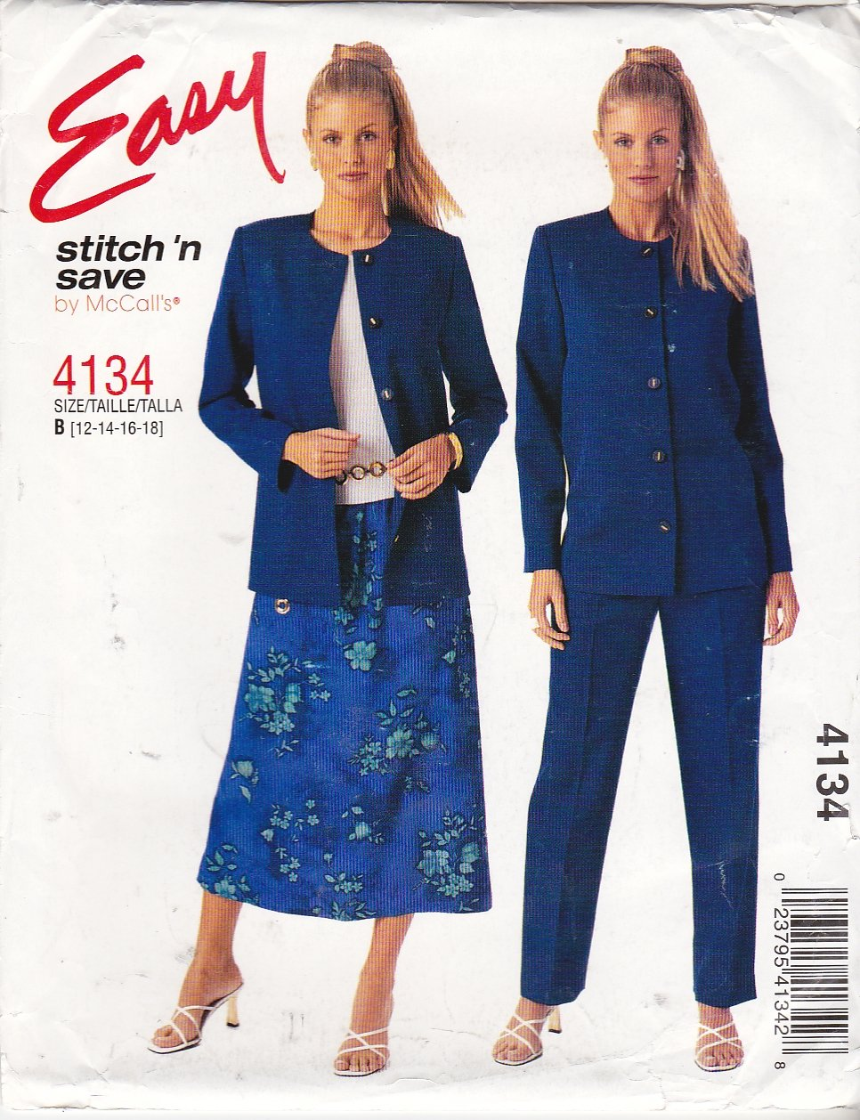 McCall's Sewing Pattern 4134 Misses  Size 6-12 Easy Button Front Jacket Long Pants Pull On Skirt