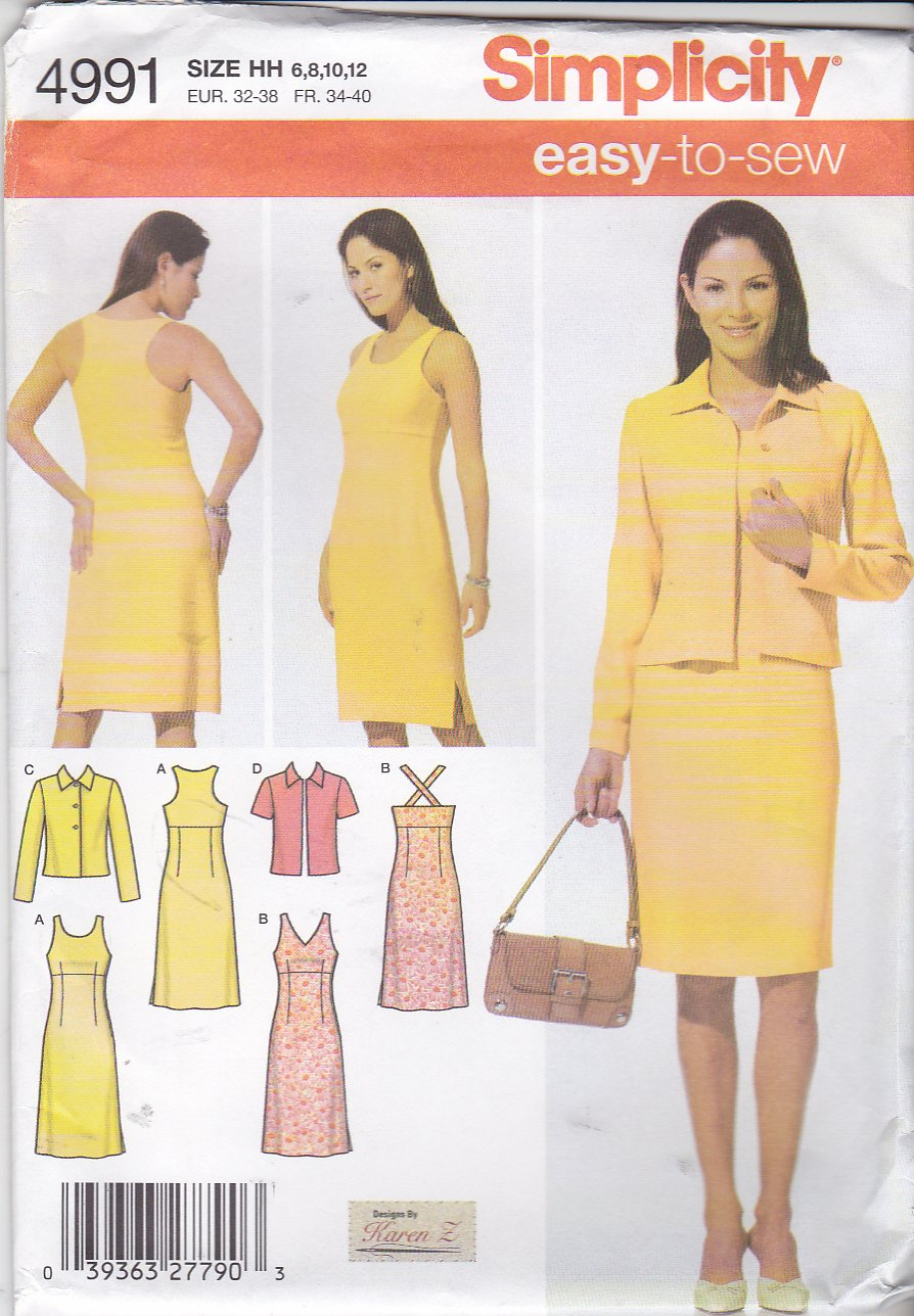 Simplicity Sewing Pattern 4991 Misses Size 6-8-10-12 Easy Dress Jacket