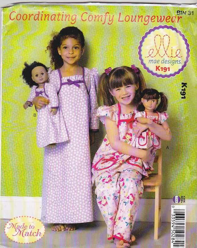 """Kwik Sew Sewing Pattern 0191 K0191 Girls Sizes 3-10 18"""" Doll Top Pants Gown Nightgown"""
