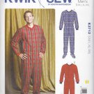 Kwik Sew Sewing Pattern 3713 Mens Sizes S - XXL Footed Sleeper Pajamas 'Long Johns' Snap Front