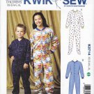 Kwik Sew Sewing Pattern 3714 Boys Girls Sizes 4-14 Footed Sleeper Pajamas 'Long Johns' Snap Front