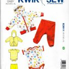 Kwik Sew Sewing Pattern 3811 Babies Sizes XS - XL Knit Hooded Jacket Pants Romper Onesie Hoodie