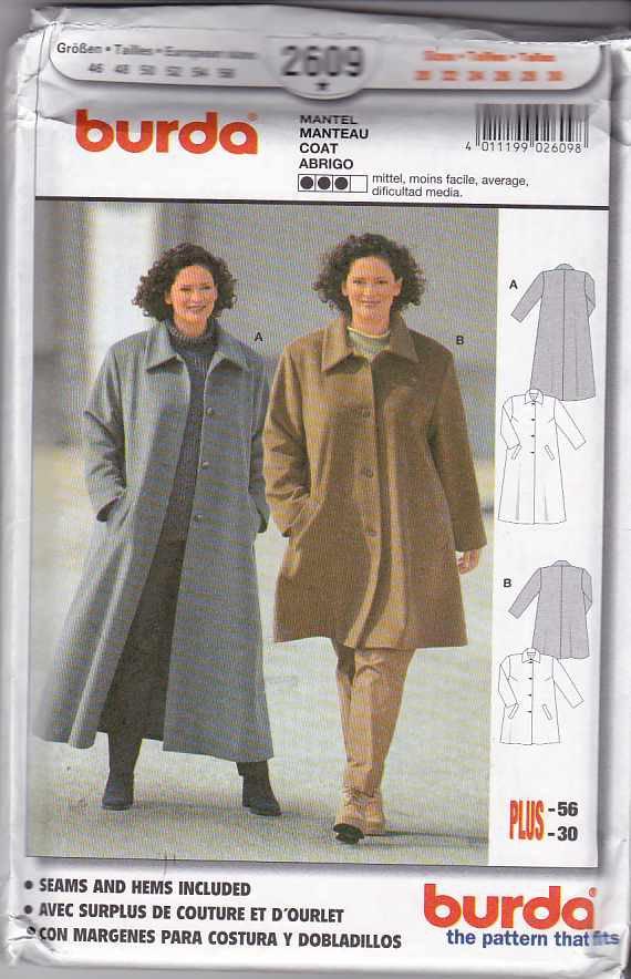 Burda Sewing Pattern 2609 Women's Plus Size 20-30 Loose Fitting Winter  Coat