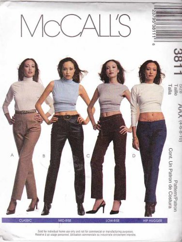 McCall's Sewing Pattern 3811 Misses Size 4-10 Classic Mid-Rise Low-Rise Hip Hugger Fitted Pants
