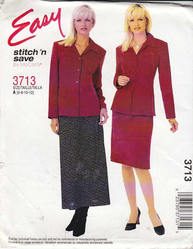 McCall's Sewing Pattern 3713 Misses Size 6-12 Easy Button Front Jacket Bias Short Long Skirt