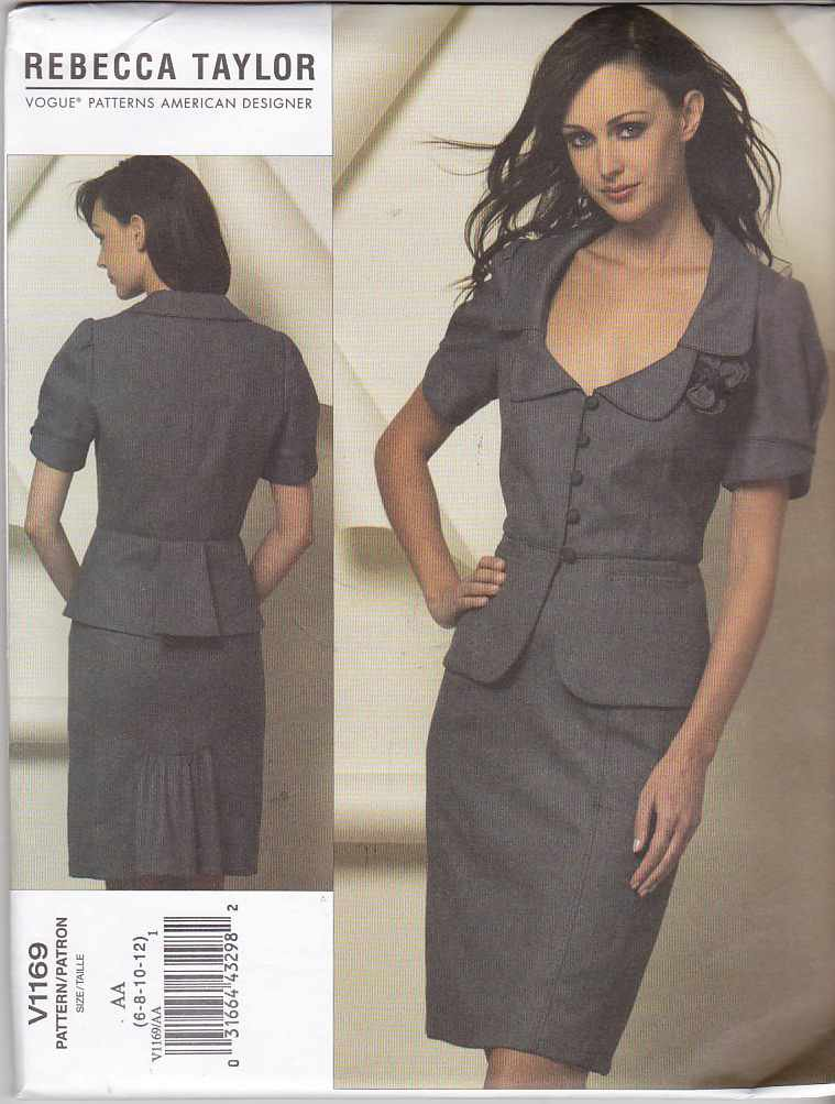 Vogue Sewing Pattern 1169 Misses Size 14-20 Rebecca Taylor Two-Piece Dress Jacket Skirt Suit