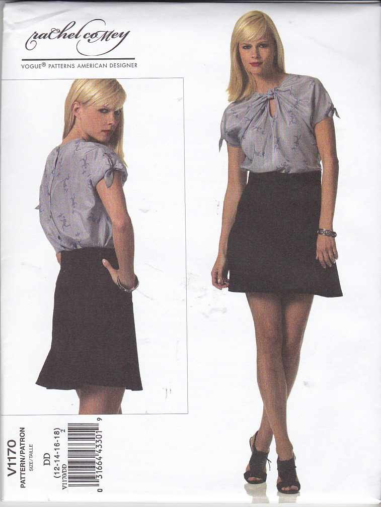 Vogue Sewing Pattern 1170 Misses Size 4-10 Rachel Comey Back Button Blouse Top Flared Skirt