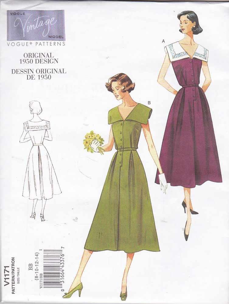 Vogue Sewing Pattern 1171 Misses Size 8-14 Vintage 1950 Design Sleeveless Button Front Dress