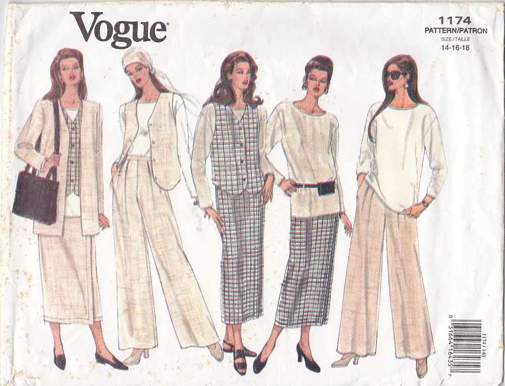 Vogue Sewing Pattern 1174 Misses Size 14-18 Easy Wardrobe Jacket Vest Tunic Skirt Pants