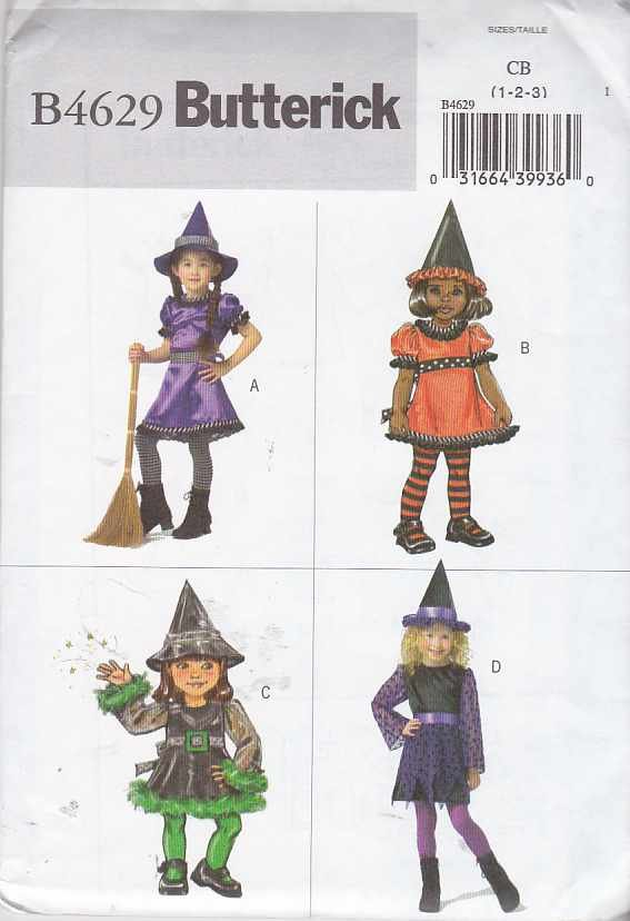 Butterick Sewing Pattern 4629 Toddler Girls Size 1-2-3 Easy  Witch Leprechaun Costume Dress Hat