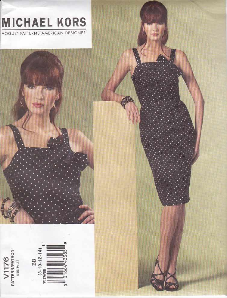 Vogue Sewing Pattern 1176 Misses Size 16-22 Michael Kors Sleeveless Summer Straight Dress