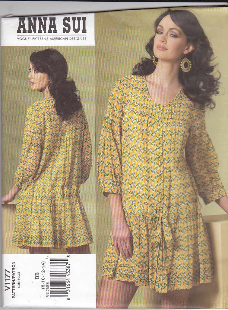 Vogue Sewing Pattern 1177 Misses Size 16-22 Anna Sui Longer Sleeve Dress Slip Tucks Pleats