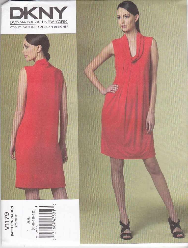 Vogue Sewing Pattern 1179 Misses Size 14-22 Easy DKNY Donna Karan Knit Sleeveless Dress
